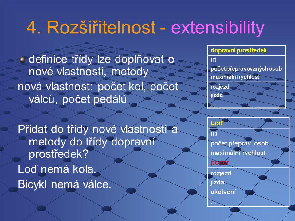 4. Rozšiřitelnost - extensibility definice třídy lze doplňovat o nové vlastnosti, metody nová vlastnost: počet kol, počet válců, počet pedálů Přidat d
