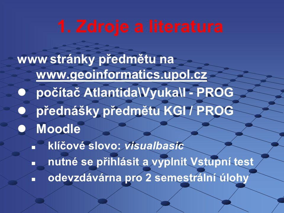 1. Zdroje a literatura www stránky předmětu na www.geoinformatics.upol.cz www.geoinformatics.upol.cz počítač Atlantida\Vyuka\I - PROG přednášky předmě