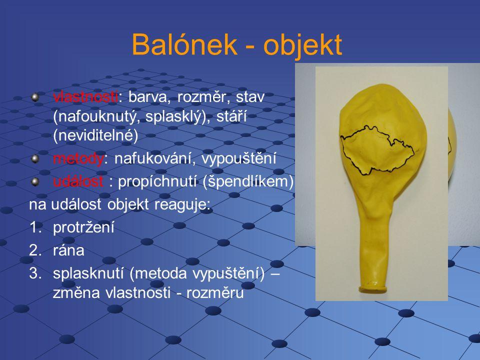 Balónek - objekt vlastnosti: barva, rozměr, stav (nafouknutý, splasklý), stáří (neviditelné) metody: nafukování, vypouštění událost : propíchnutí (špendlíkem) na událost objekt reaguje: 1.protržení 2.rána 3.splasknutí (metoda vypuštění) – změna vlastnosti - rozměru
