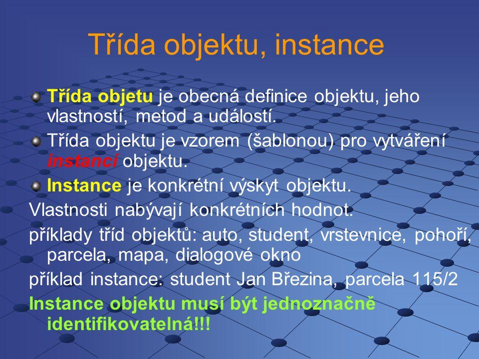 Třída objektu, instance Třída objetu je obecná definice objektu, jeho vlastností, metod a událostí.