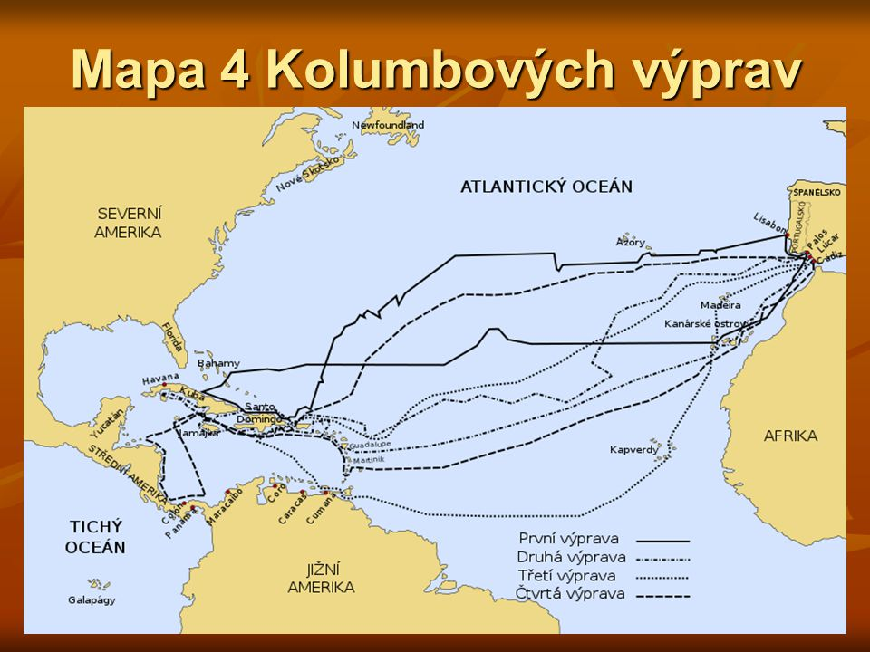Mapa 4 Kolumbových výprav