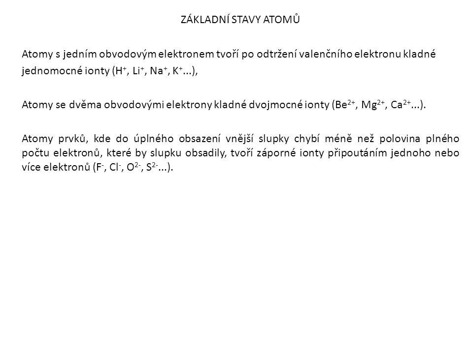 ZÁKLADNÍ STAVY ATOMŮ Atomy s jedním obvodovým elektronem tvoří po odtržení valenčního elektronu kladné jednomocné ionty (H +, Li +, Na +, K +...), Atomy se dvěma obvodovými elektrony kladné dvojmocné ionty (Be 2+, Mg 2+, Ca 2+...).