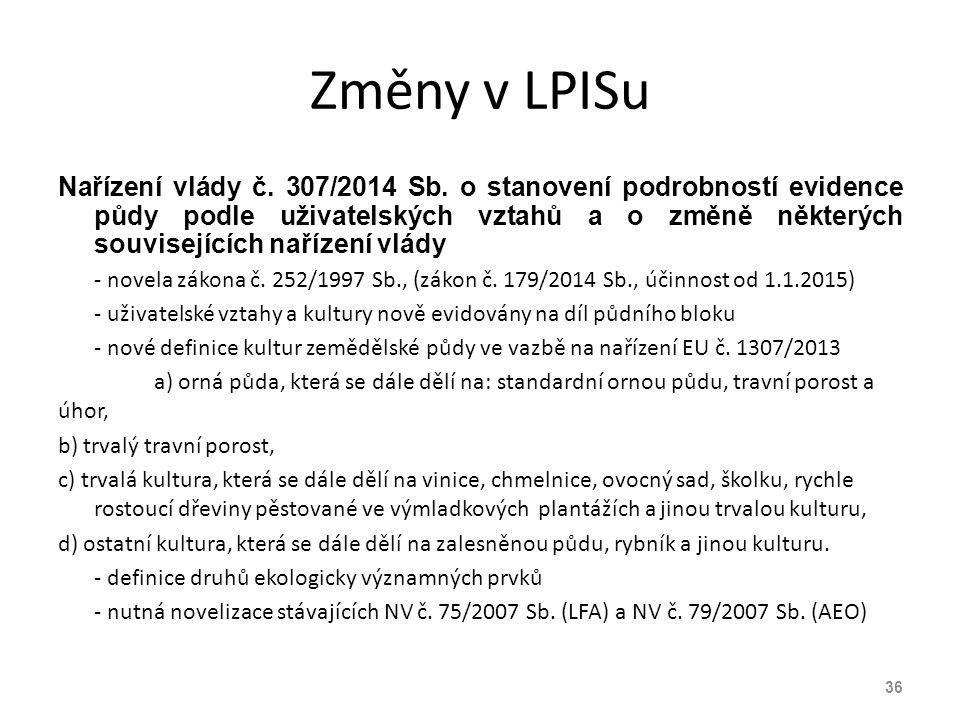 Změny v LPISu Nařízení vlády č. 307/2014 Sb. o stanovení podrobností evidence půdy podle uživatelských vztahů a o změně některých souvisejících naříze