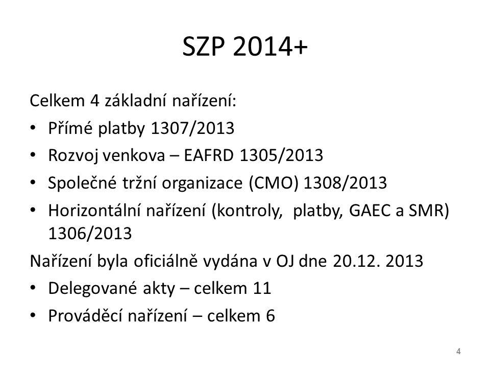 SZP 2014+ Celkem 4 základní nařízení: Přímé platby 1307/2013 Rozvoj venkova – EAFRD 1305/2013 Společné tržní organizace (CMO) 1308/2013 Horizontální n