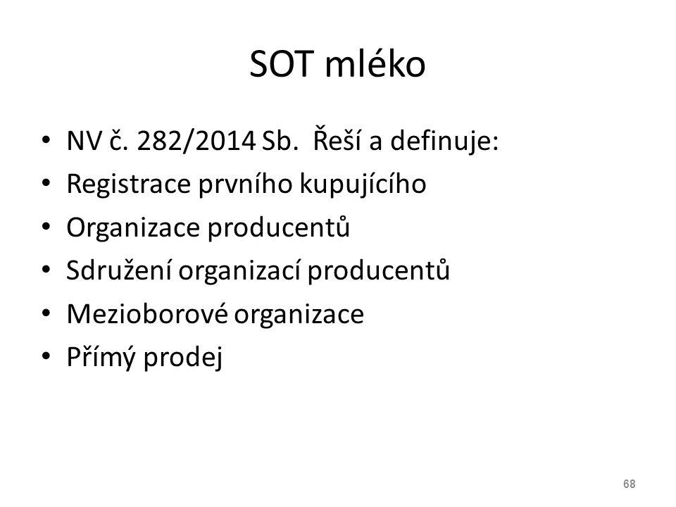 SOT mléko NV č. 282/2014 Sb. Řeší a definuje: Registrace prvního kupujícího Organizace producentů Sdružení organizací producentů Mezioborové organizac