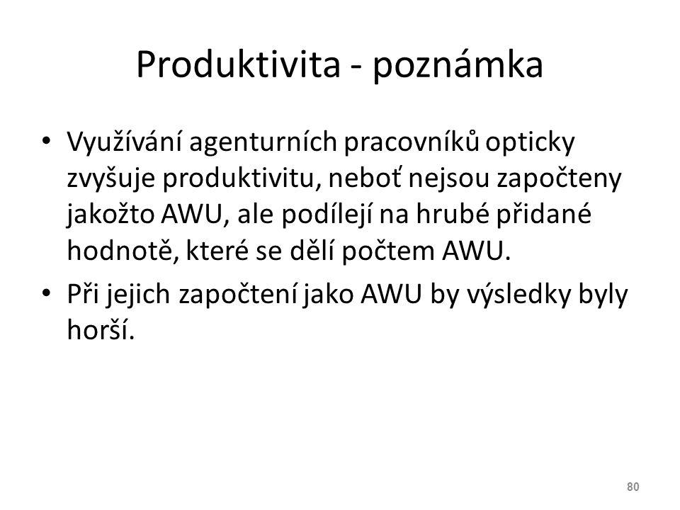 Produktivita - poznámka Využívání agenturních pracovníků opticky zvyšuje produktivitu, neboť nejsou započteny jakožto AWU, ale podílejí na hrubé přida