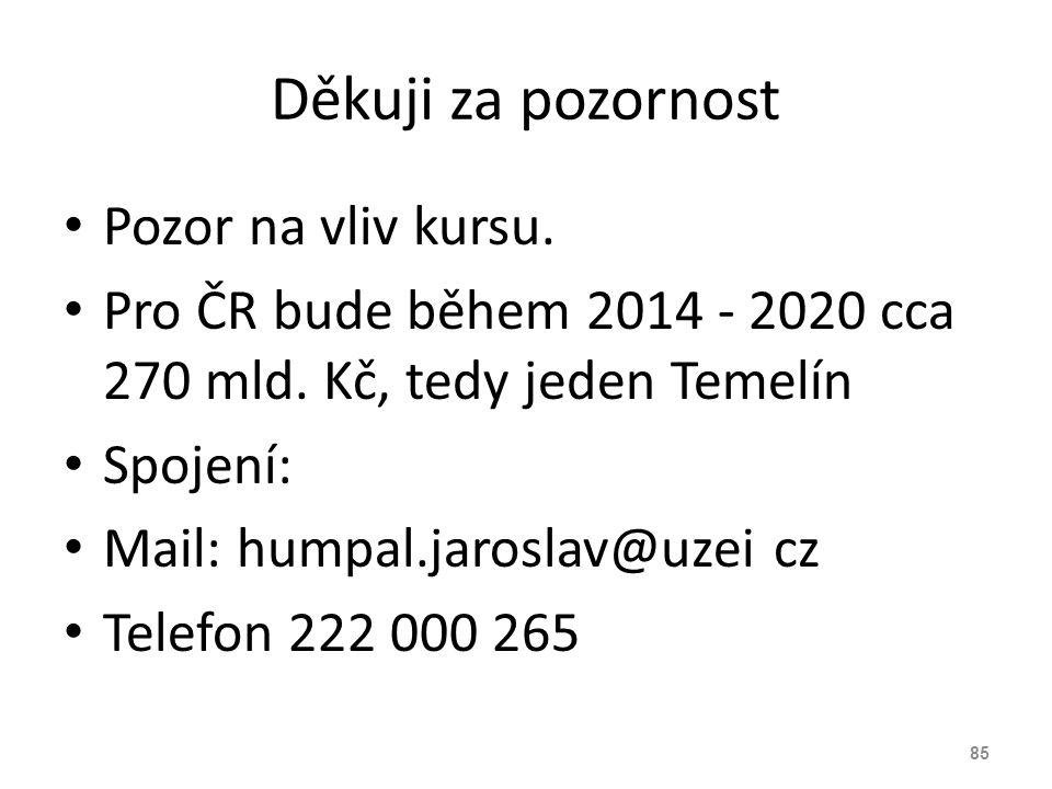 Děkuji za pozornost Pozor na vliv kursu. Pro ČR bude během 2014 - 2020 cca 270 mld. Kč, tedy jeden Temelín Spojení: Mail: humpal.jaroslav@uzei cz Tele