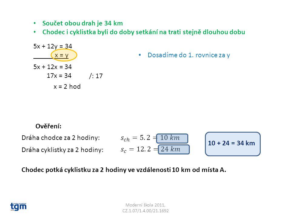 Moderní škola 2011, CZ.1.07/1.4.00/21.1692 5x + 12y = 34 x = y Ověření: Dráha chodce za 2 hodiny: Dosadíme do 1.