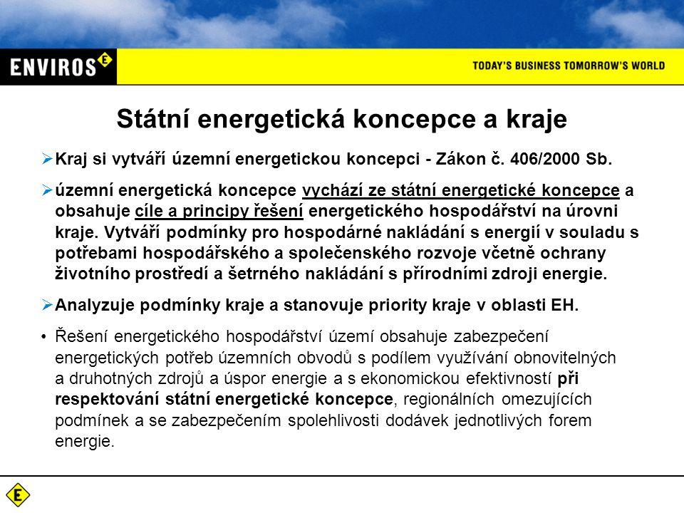 Státní energetická koncepce a kraje  Kraj si vytváří územní energetickou koncepci - Zákon č.