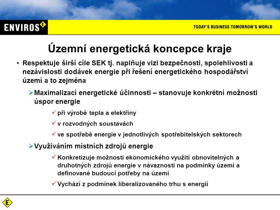 Územní energetická koncepce kraje Respektuje širší cíle SEK tj.