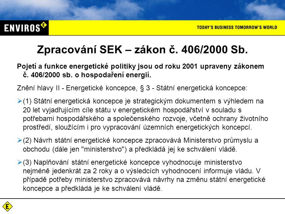 Zpracování SEK – zákon č. 406/2000 Sb.
