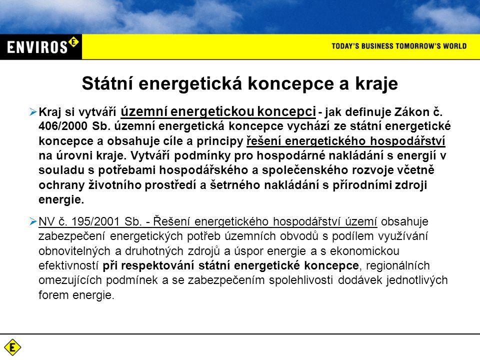 Státní energetická koncepce a kraje  Kraj si vytváří územní energetickou koncepci - jak definuje Zákon č.