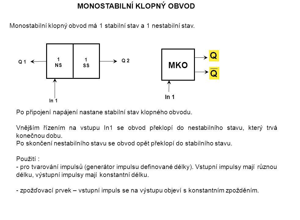 MONOSTABILNÍ KLOPNÝ OBVOD Monostabilní klopný obvod má 1 stabilní stav a 1 nestabilní stav.