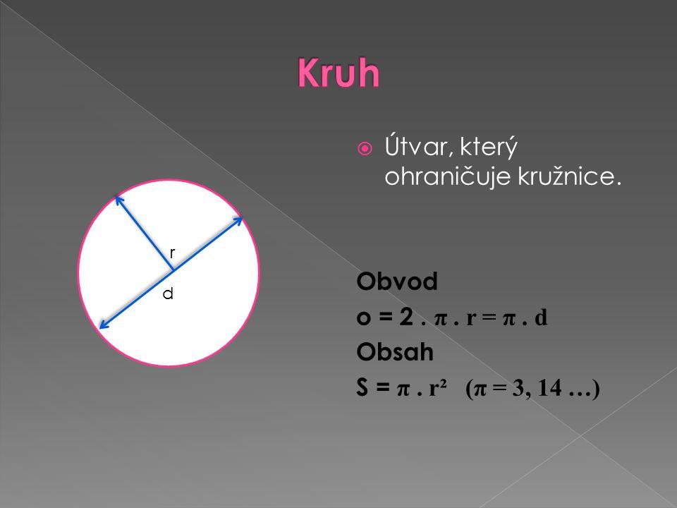  Útvar, který ohraničuje kružnice. Obvod o = 2. π. r = π. d Obsah S = π. r² (π = 3, 14 …) r d