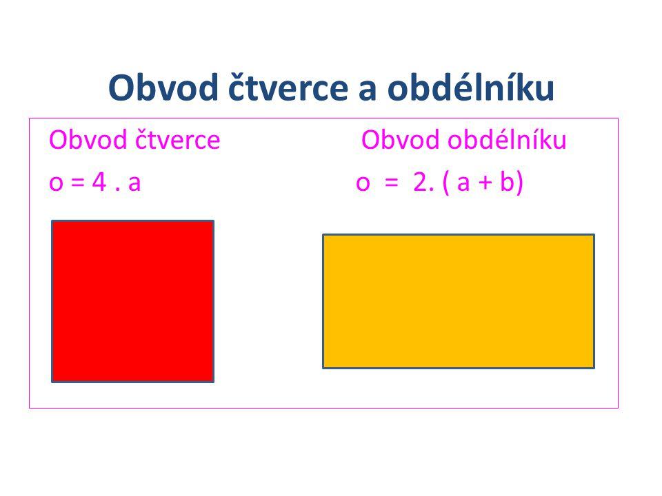 Obvod čtverce a obdélníku Obvod čtverce Obvod obdélníku o = 4. a o = 2. ( a + b)