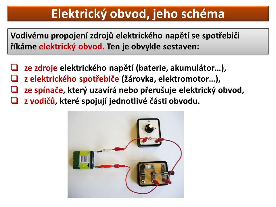  ze zdroje elektrického napětí (baterie, akumulátor…),  z elektrického spotřebiče (žárovka, elektromotor…),  ze spínače, který uzavírá nebo přerušu