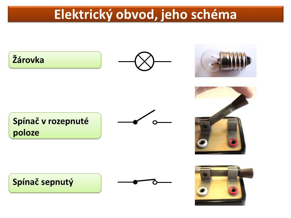 Elektrický obvod, jeho schéma Žárovka Spínač v rozepnuté poloze Spínač sepnutý