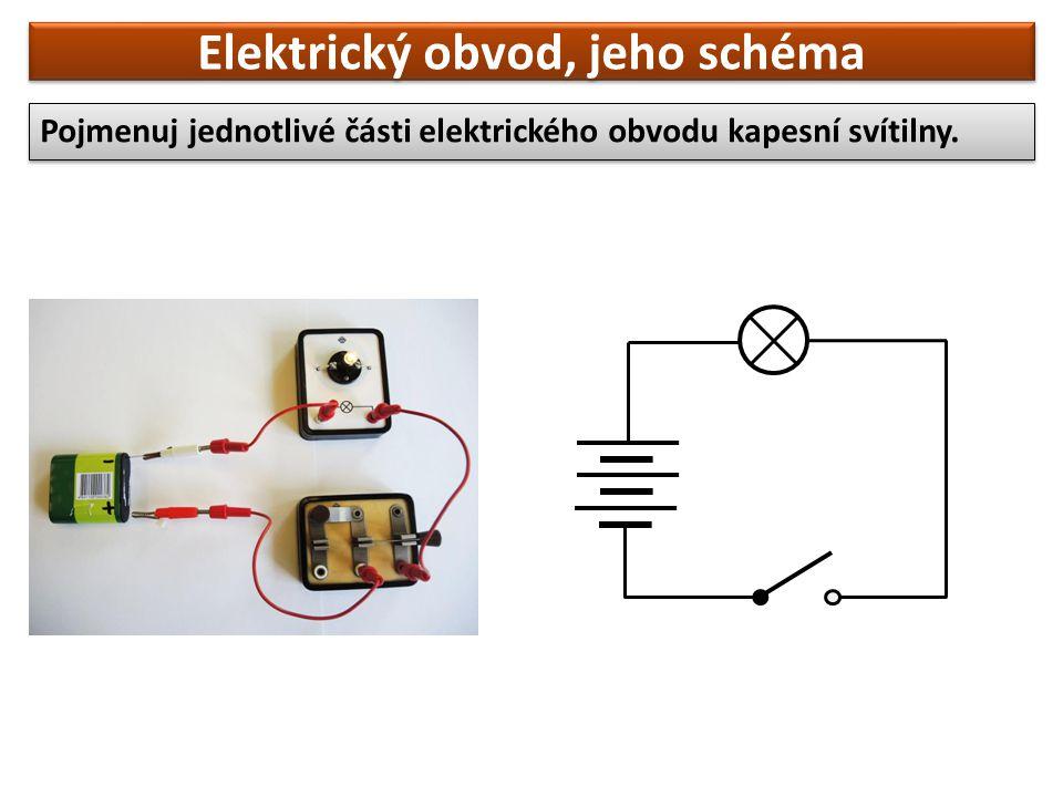 Elektrický obvod, jeho schéma Pojmenuj jednotlivé části elektrického obvodu kapesní svítilny.