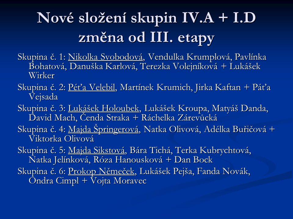 Nové složení skupin IV.A + I.D změna od III. etapy Skupina č. 1: Nikolka Svobodová, Vendulka Krumplová, Pavlínka Bohatová, Danuška Karlová, Terezka Vo