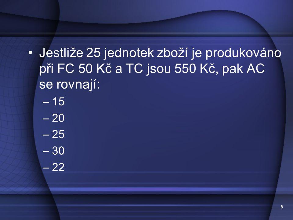8 Jestliže 25 jednotek zboží je produkováno při FC 50 Kč a TC jsou 550 Kč, pak AC se rovnají: –15 –20 –25 –30 –22