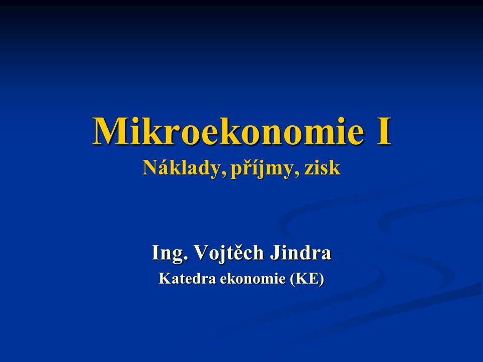 MIEK1 – Příklady Doplňte následující tvrzení: a)Za dokonalé konkurence je individuální poptávková křivka po produkci firmy …, což je vyjádřením faktu, že dokonale konkurenční firma nikterak … ovlivnit tržní … svého produktu.