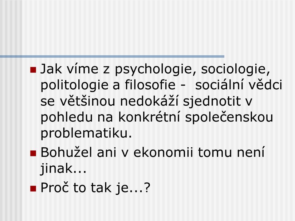 Jak víme z psychologie, sociologie, politologie a filosofie - sociální vědci se většinou nedokáží sjednotit v pohledu na konkrétní společenskou problematiku.