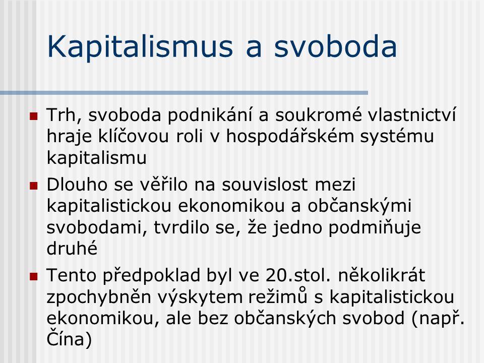 Kapitalismus a svoboda Trh, svoboda podnikání a soukromé vlastnictví hraje klíčovou roli v hospodářském systému kapitalismu Dlouho se věřilo na souvislost mezi kapitalistickou ekonomikou a občanskými svobodami, tvrdilo se, že jedno podmiňuje druhé Tento předpoklad byl ve 20.stol.