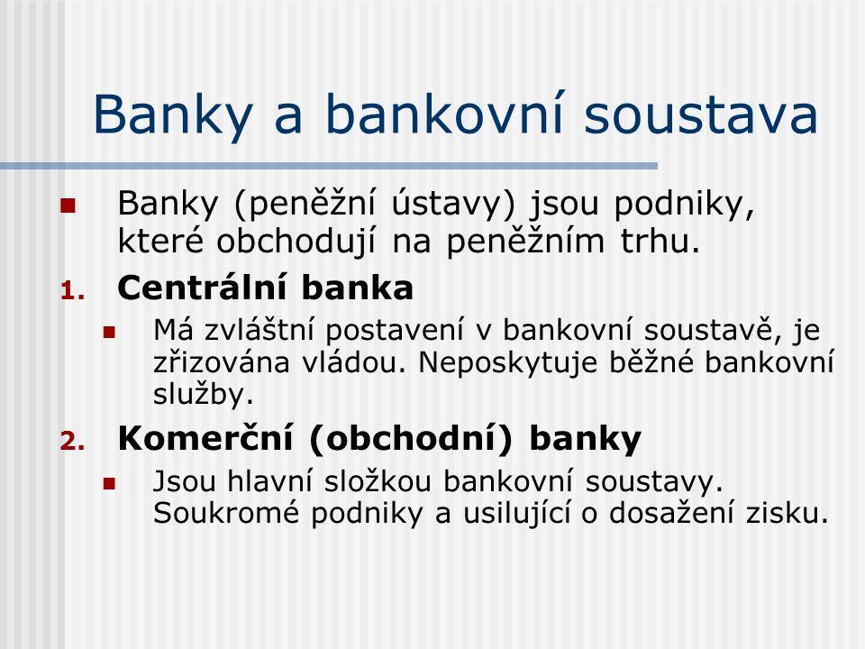 Banky a bankovní soustava Banky (peněžní ústavy) jsou podniky, které obchodují na peněžním trhu.