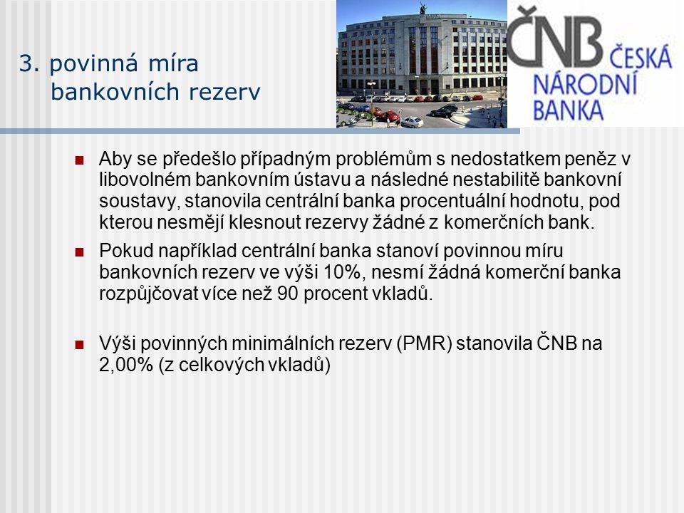 3. povinná míra bankovních rezerv Aby se předešlo případným problémům s nedostatkem peněz v libovolném bankovním ústavu a následné nestabilitě bankovn