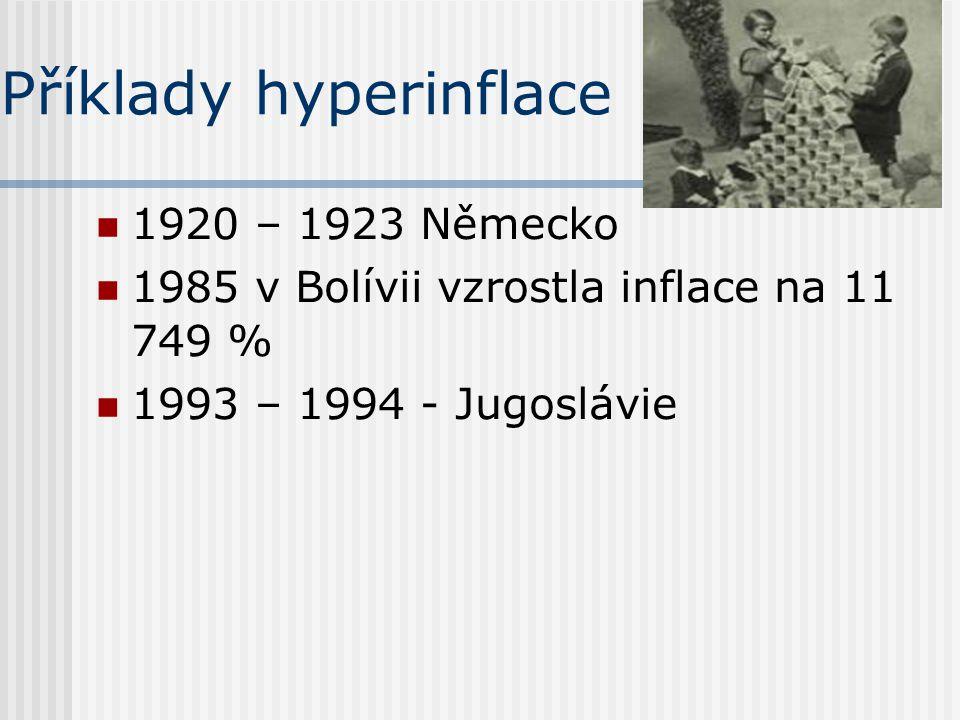 Příklady hyperinflace 1920 – 1923 Německo 1985 v Bolívii vzrostla inflace na 11 749 % 1993 – 1994 - Jugoslávie