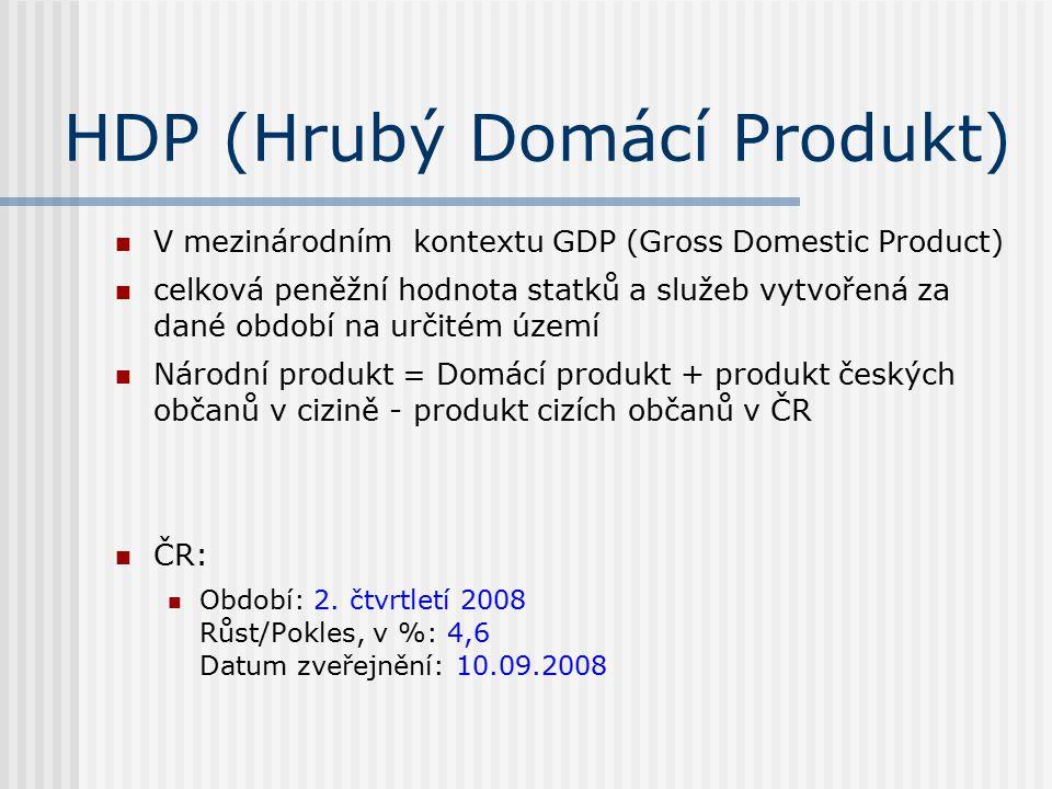 HDP (Hrubý Domácí Produkt) V mezinárodním kontextu GDP (Gross Domestic Product) celková peněžní hodnota statků a služeb vytvořená za dané období na určitém území Národní produkt = Domácí produkt + produkt českých občanů v cizině - produkt cizích občanů v ČR ČR: Období: 2.