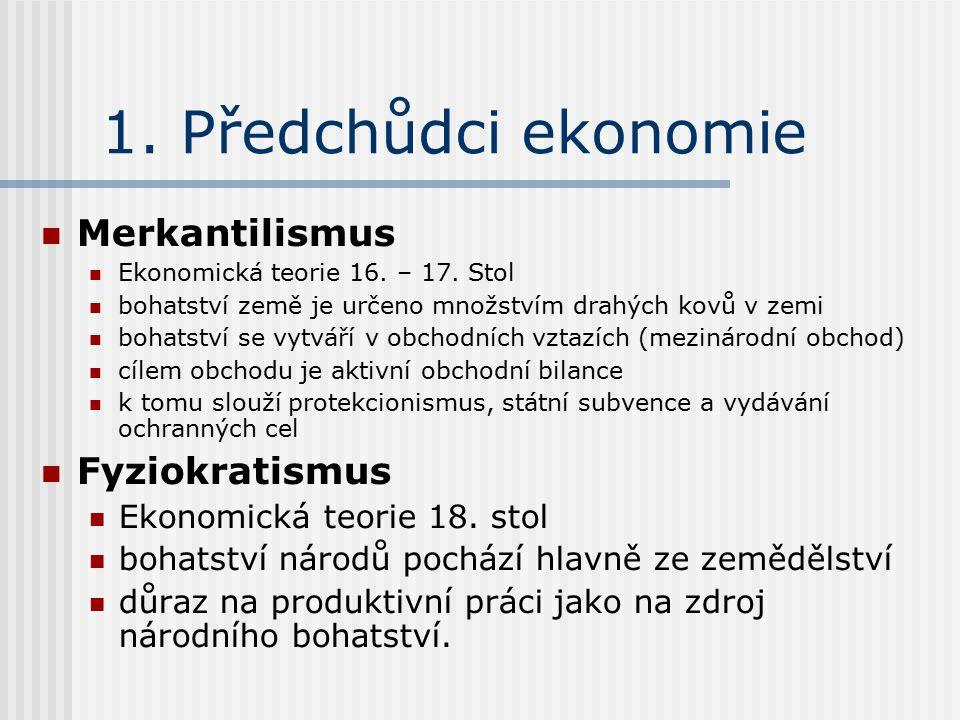1. Předchůdci ekonomie Merkantilismus Ekonomická teorie 16.