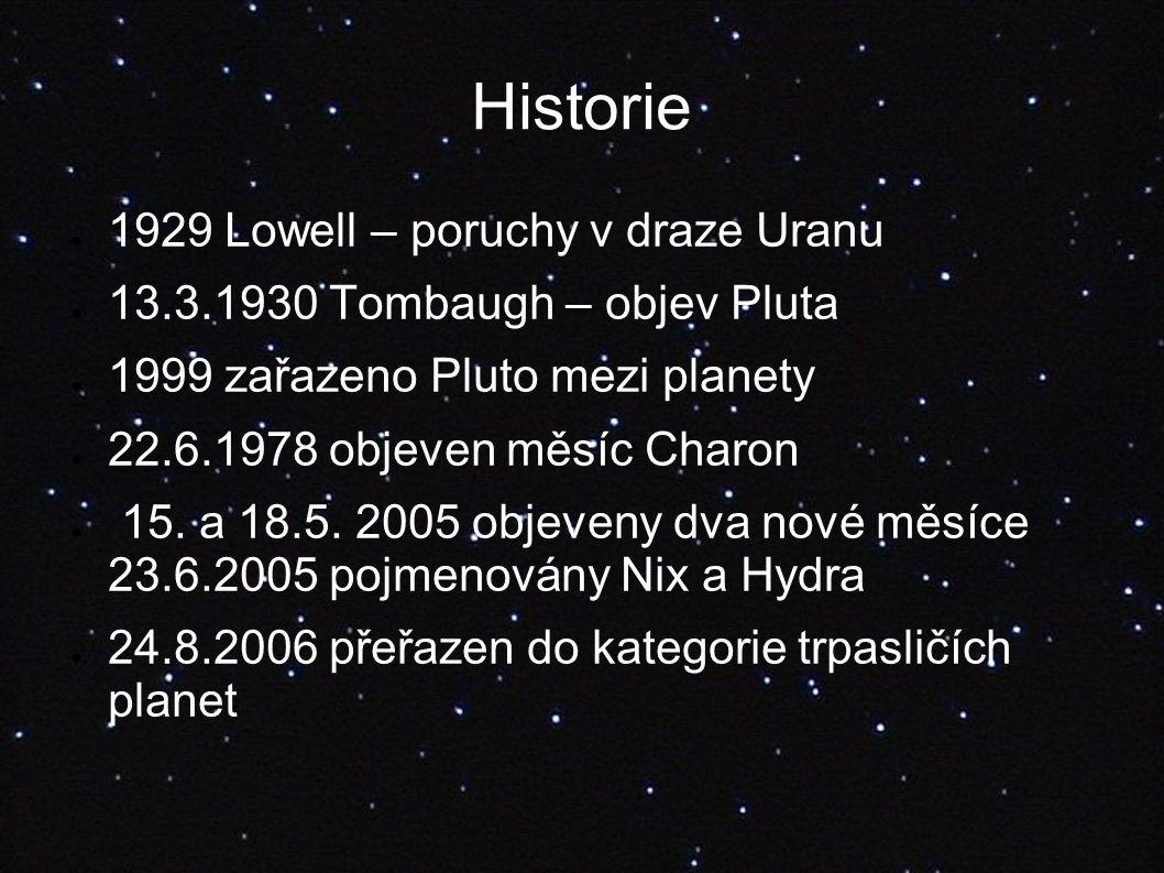 Historie ● 1929 Lowell – poruchy v draze Uranu ● 13.3.1930 Tombaugh – objev Pluta ● 1999 zařazeno Pluto mezi planety ● 22.6.1978 objeven měsíc Charon ● 15.