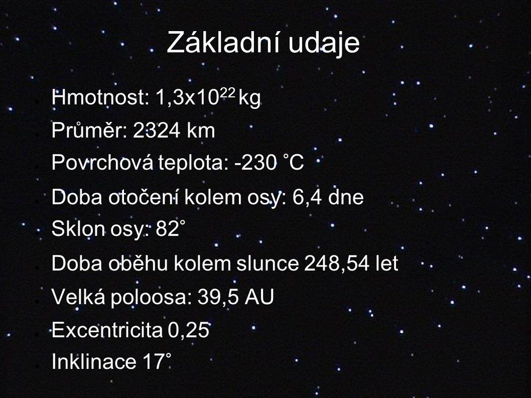 Základní udaje ● Hmotnost: 1,3x10 22 kg ● Průměr: 2324 km ● Povrchová teplota: -230 °C ● Doba otočení kolem osy: 6,4 dne ● Sklon osy: 82° ● Doba oběhu kolem slunce 248,54 let ● Velká poloosa: 39,5 AU ● Excentricita 0,25 ● Inklinace 17°