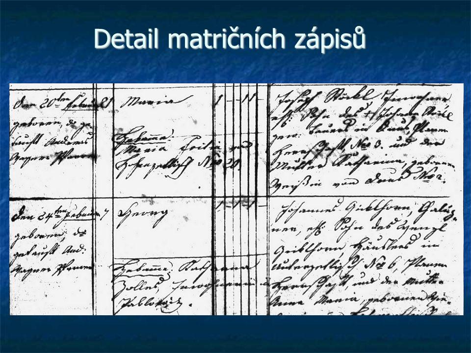 Detail matričních zápisů