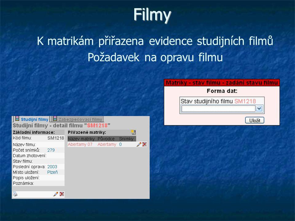 Filmy K matrikám přiřazena evidence studijních filmů Požadavek na opravu filmu