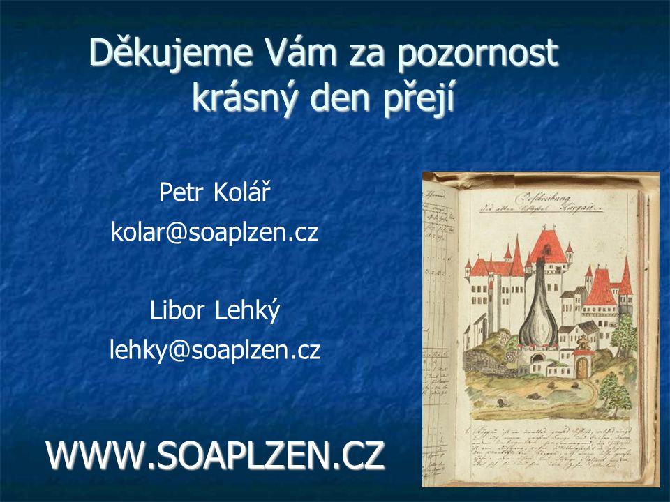 Děkujeme Vám za pozornost krásný den přejí Petr Kolář kolar@soaplzen.cz Libor Lehký lehky@soaplzen.czWWW.SOAPLZEN.CZ