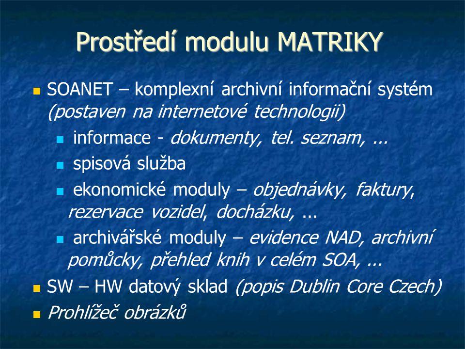 Prostředí modulu MATRIKY SOANET – komplexní archivní informační systém (postaven na internetové technologii) informace - dokumenty, tel. seznam,... s