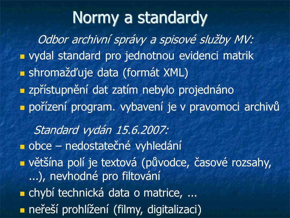 Normy a standardy Odbor archivní správy a spisové služby MV: vydal standard pro jednotnou evidenci matrik shromažďuje data (formát XML) zpřístupnění