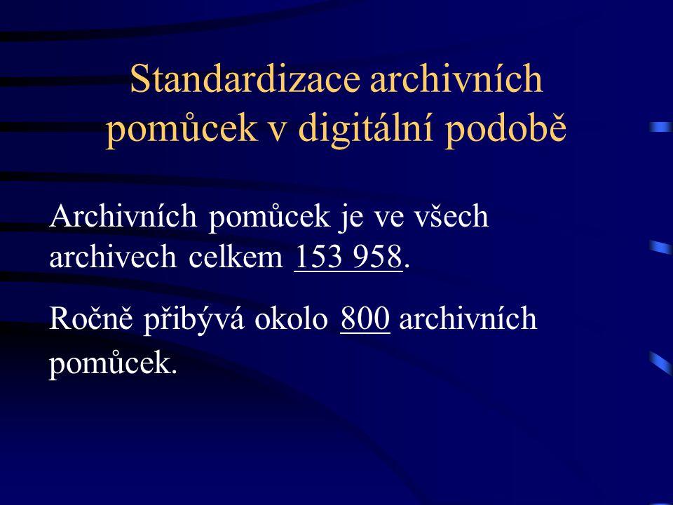Standardizace archivních pomůcek v digitální podobě Archivních pomůcek je ve všech archivech celkem 153 958. Ročně přibývá okolo 800 archivních pomůce