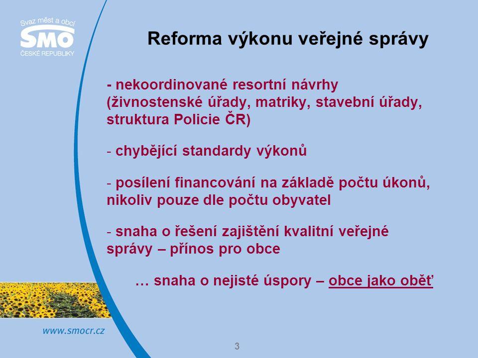 4 Sociální reforma - není jasný celkový dopad změn na obce, známa pouze tzv.