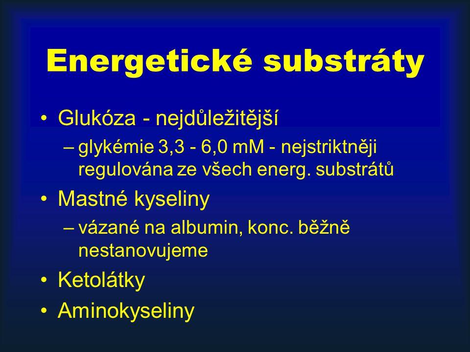 Energetické substráty Glukóza - nejdůležitější –glykémie 3,3 - 6,0 mM - nejstriktněji regulována ze všech energ.