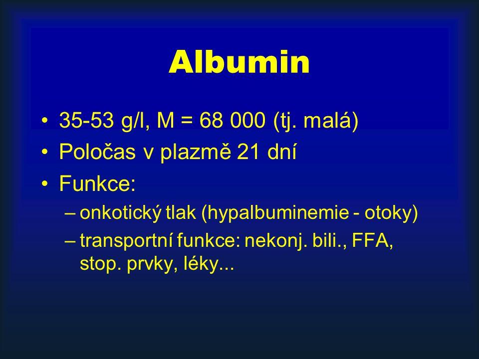 Albumin 35-53 g/l, M = 68 000 (tj.