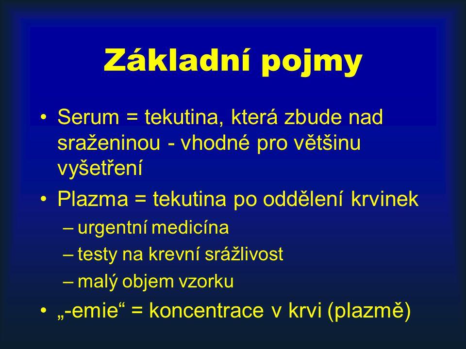 """Základní pojmy Serum = tekutina, která zbude nad sraženinou - vhodné pro většinu vyšetření Plazma = tekutina po oddělení krvinek –urgentní medicína –testy na krevní srážlivost –malý objem vzorku """"-emie = koncentrace v krvi (plazmě)"""