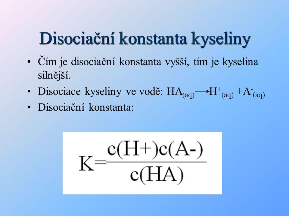 Disociační konstanta kyseliny Čím je disociační konstanta vyšší, tím je kyselina silnější. Disociace kyseliny ve vodě: HA (aq) H + (aq) +A - (aq) Diso