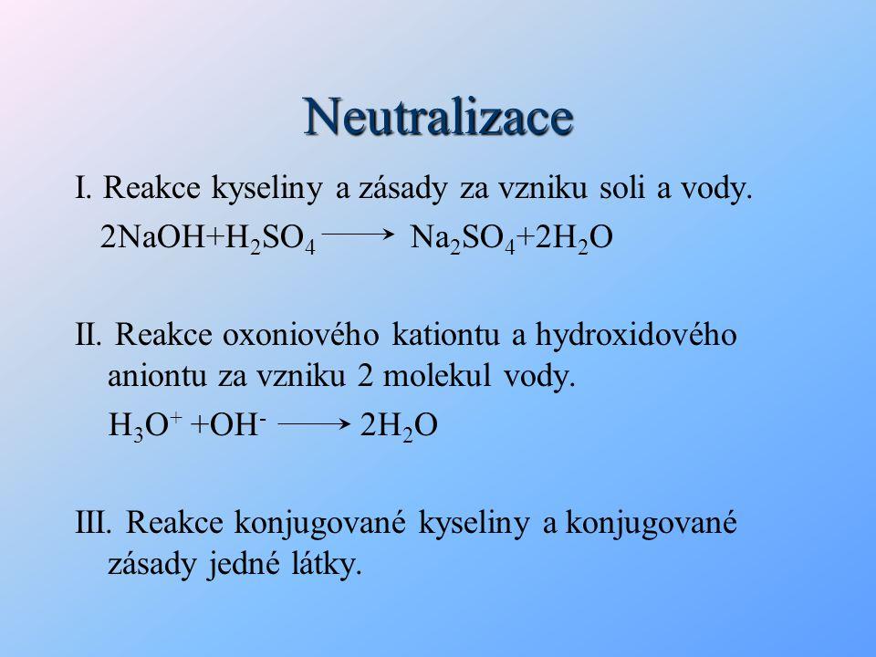 Neutralizace I. Reakce kyseliny a zásady za vzniku soli a vody. 2NaOH+H 2 SO 4 Na 2 SO 4 +2H 2 O II. Reakce oxoniového kationtu a hydroxidového aniont