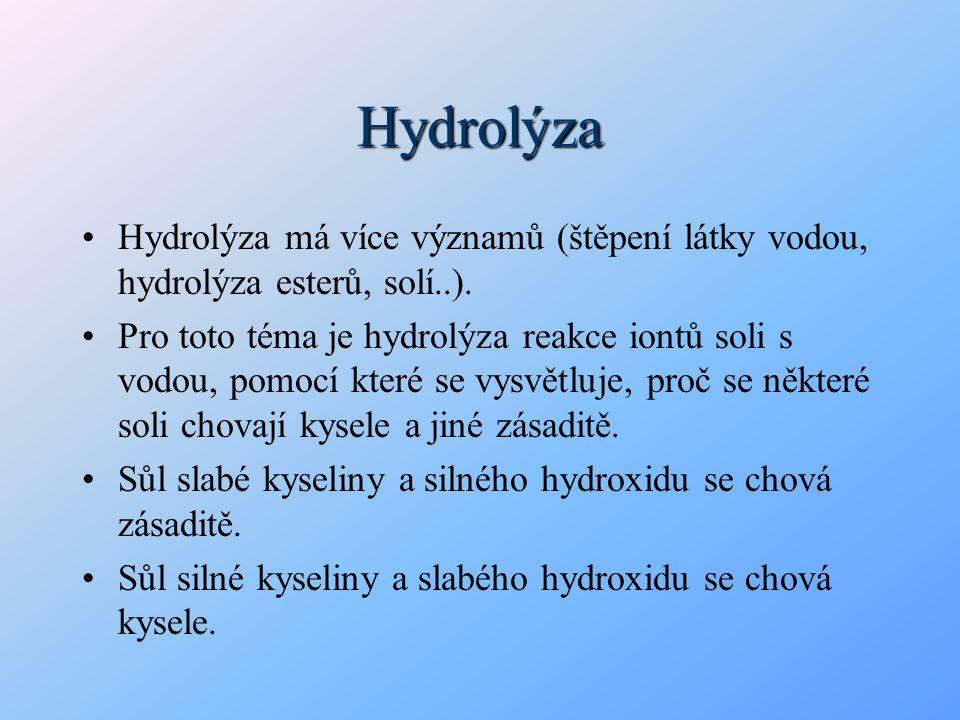 Hydrolýza Hydrolýza má více významů (štěpení látky vodou, hydrolýza esterů, solí..). Pro toto téma je hydrolýza reakce iontů soli s vodou, pomocí kter
