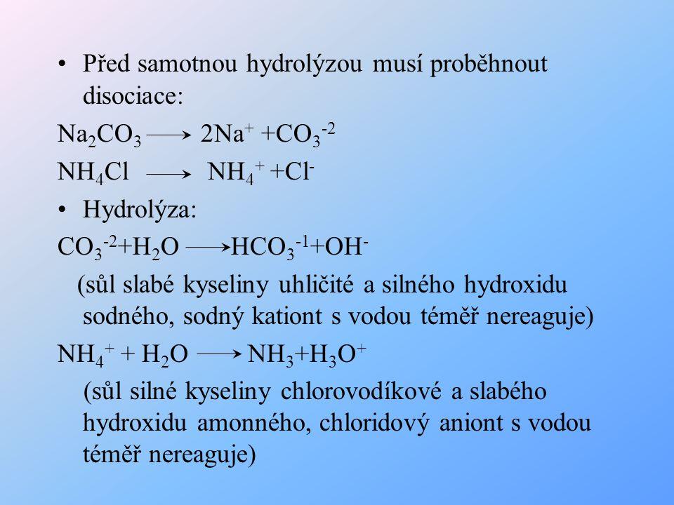 Před samotnou hydrolýzou musí proběhnout disociace: Na 2 CO 3 2Na + +CO 3 -2 NH 4 Cl NH 4 + +Cl - Hydrolýza: CO 3 -2 +H 2 O HCO 3 -1 +OH - (sůl slabé
