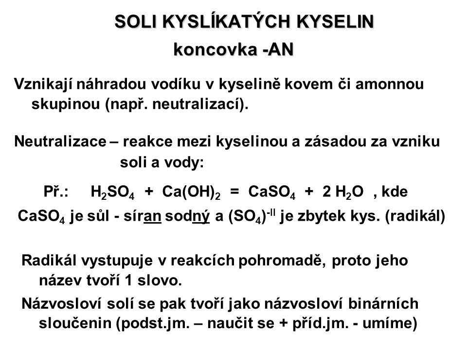 SOLI KYSLÍKATÝCH KYSELIN SOLI KYSLÍKATÝCH KYSELIN koncovka -AN Vznikají náhradou vodíku v kyselině kovem či amonnou skupinou (např. neutralizací). Neu