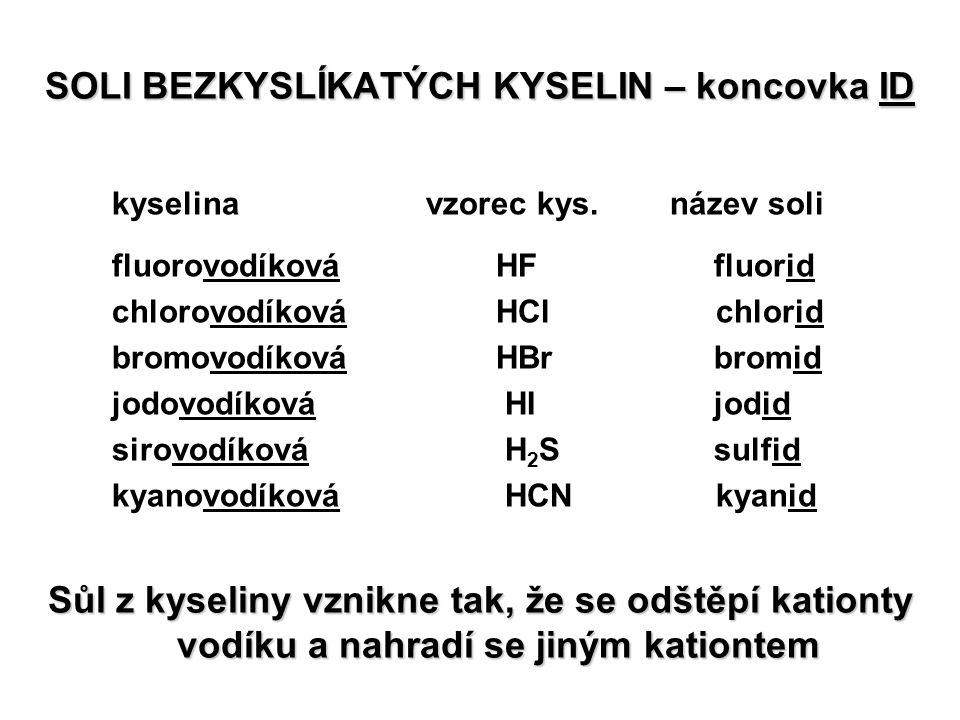 SOLI BEZKYSLÍKATÝCH KYSELIN – koncovka ID kyselina vzorec kys. název soli fluorovodíkováHF fluorid chlorovodíkováHCl chlorid bromovodíkováHBr bromid j